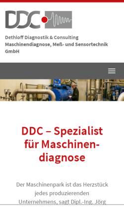Vorschau der mobilen Webseite www.ddc-rostock.de, DDC Dethloff Diagnostik & Consulting Maschinendiagnose, Meß- und Sensortechnik GmbH
