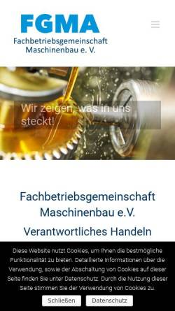 Vorschau der mobilen Webseite www.fgma.de, Fachbetriebsgemeinschaft Maschinenbau e.V.