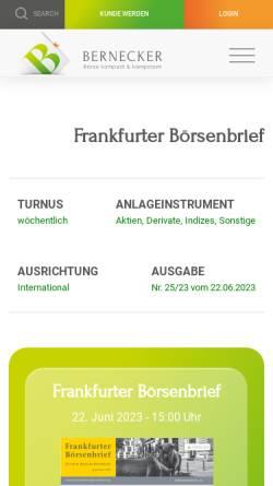 Vorschau der mobilen Webseite www.frankfurter-boersenbrief.de, Frankfurter Börsenbrief by Curt L. Schmitt GmbH
