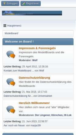 Vorschau der mobilen Webseite www.modellboard.net, Das Modellboard