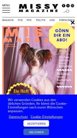 Vorschau der mobilen Webseite missy-magazine.de, Missy Magazine