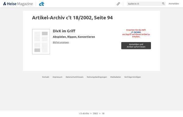 Vorschau von www.heise.de, c't - DivX im Griff