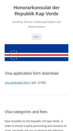 Vorschau der mobilen Webseite www.capverde.org, Honorarkonsulat in Hamburg